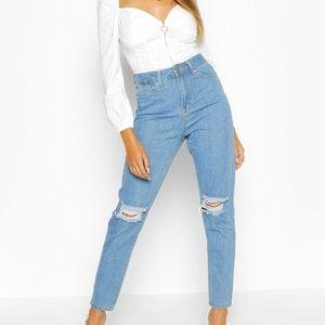 NWT BooHoo High Waist Distressed Mom Jeans